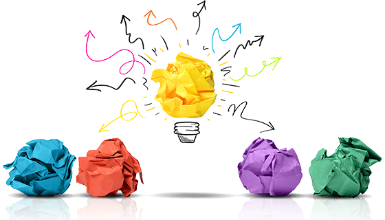 Balls of crumpled colored paper. Solve your innovation challenges at IdeaConnection com