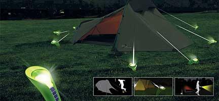 Pin Lights Illuminating Tent Stakes
