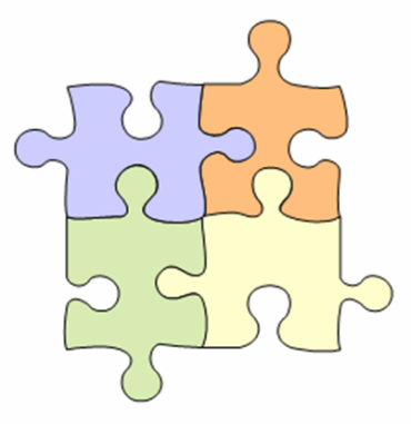 four jigsaw puzzle pieces connected